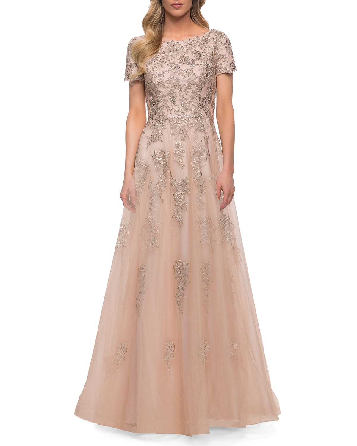 Tulle Lace A-Line Short-Sleeve Gown
