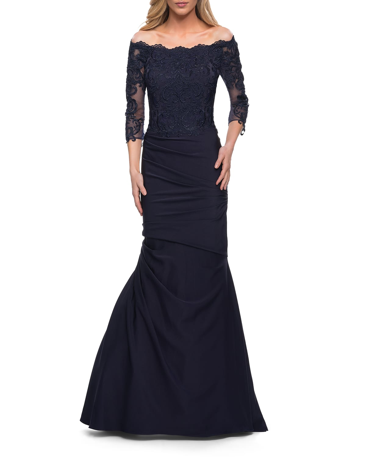 Gathered Lace Mermaid Gown with Jersey Skirt