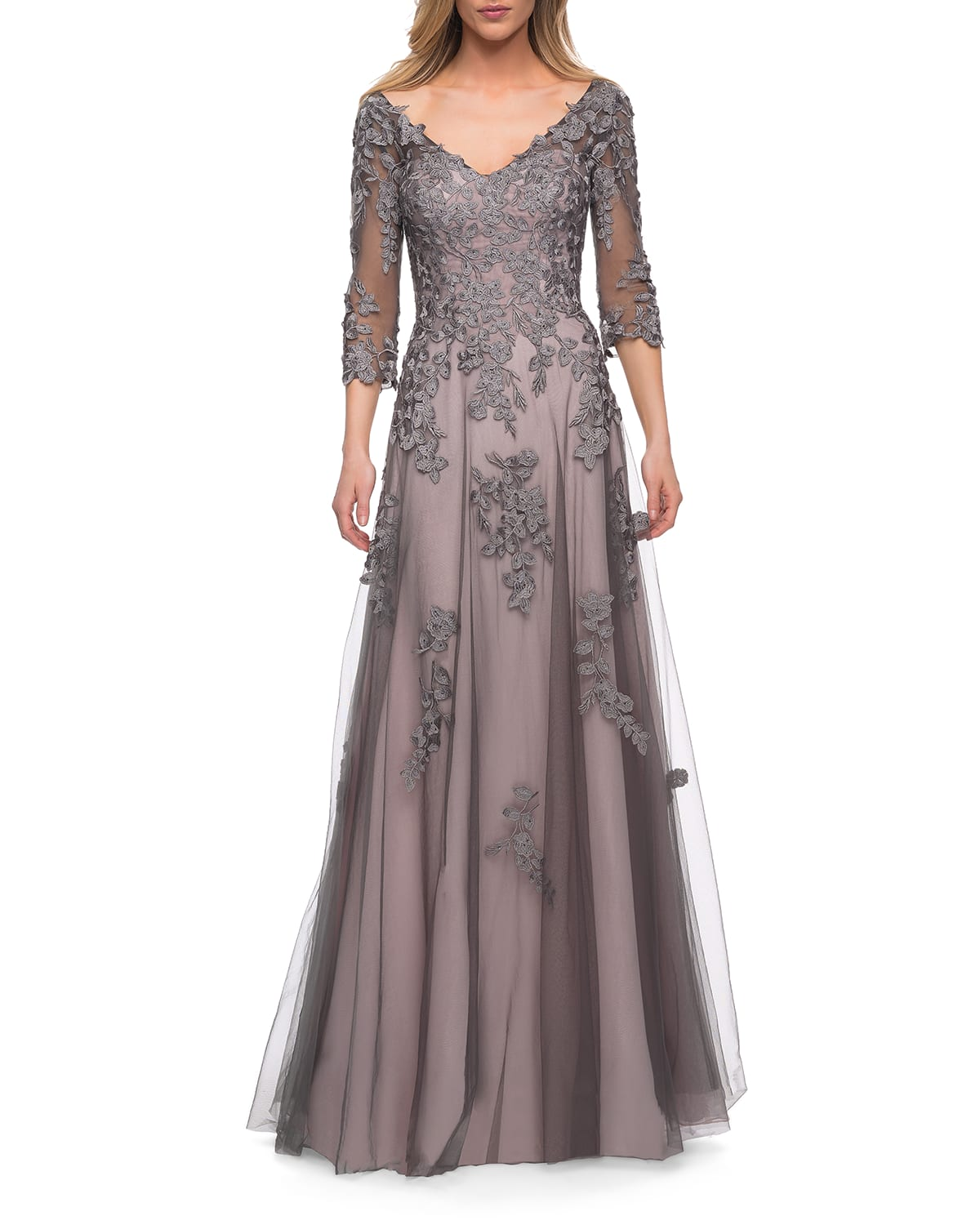 V-Neck 3/4-Sleeve Tulle Gown w/ Lace Applique