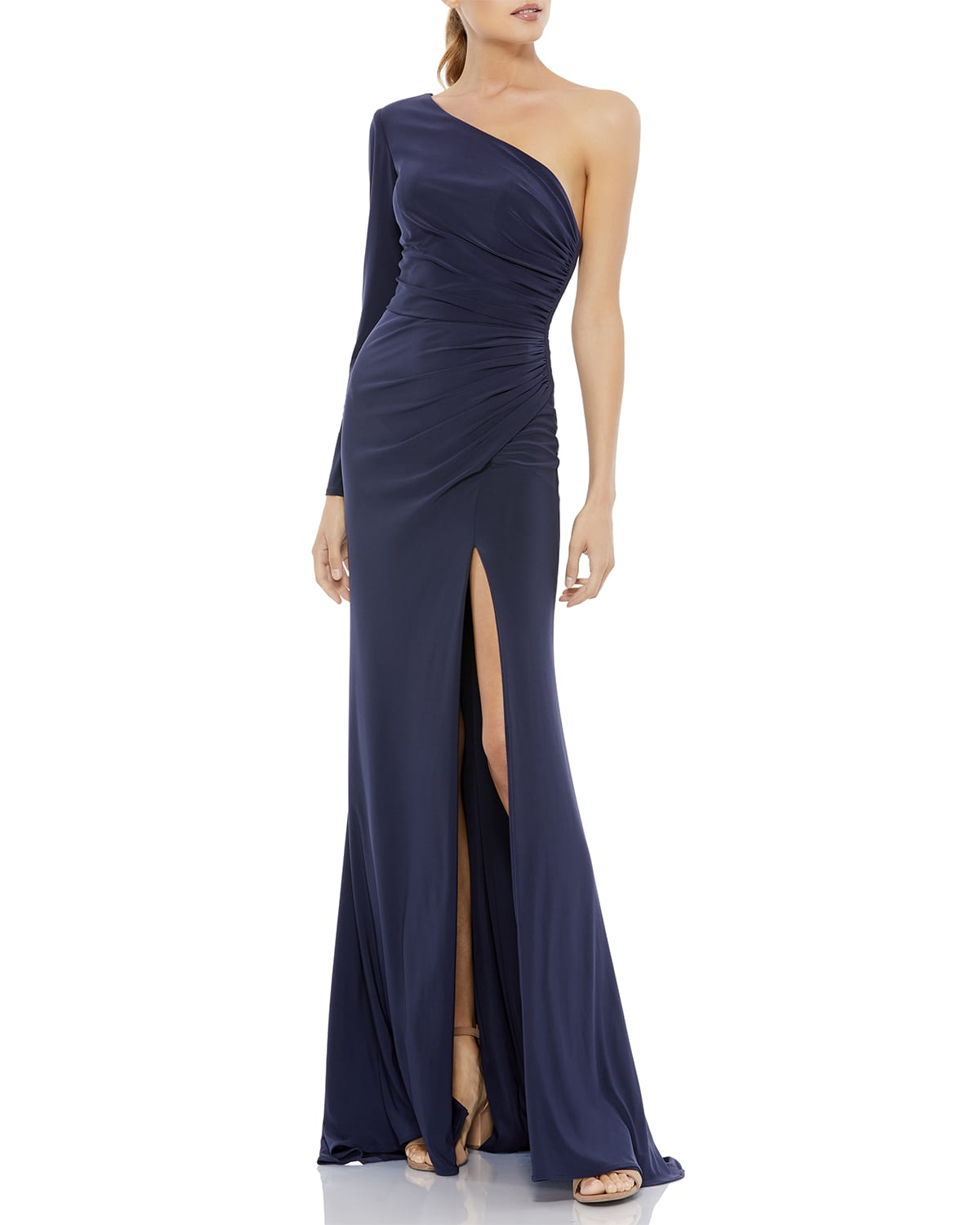One-Sleeve Ruched Mock-Wrap Gown