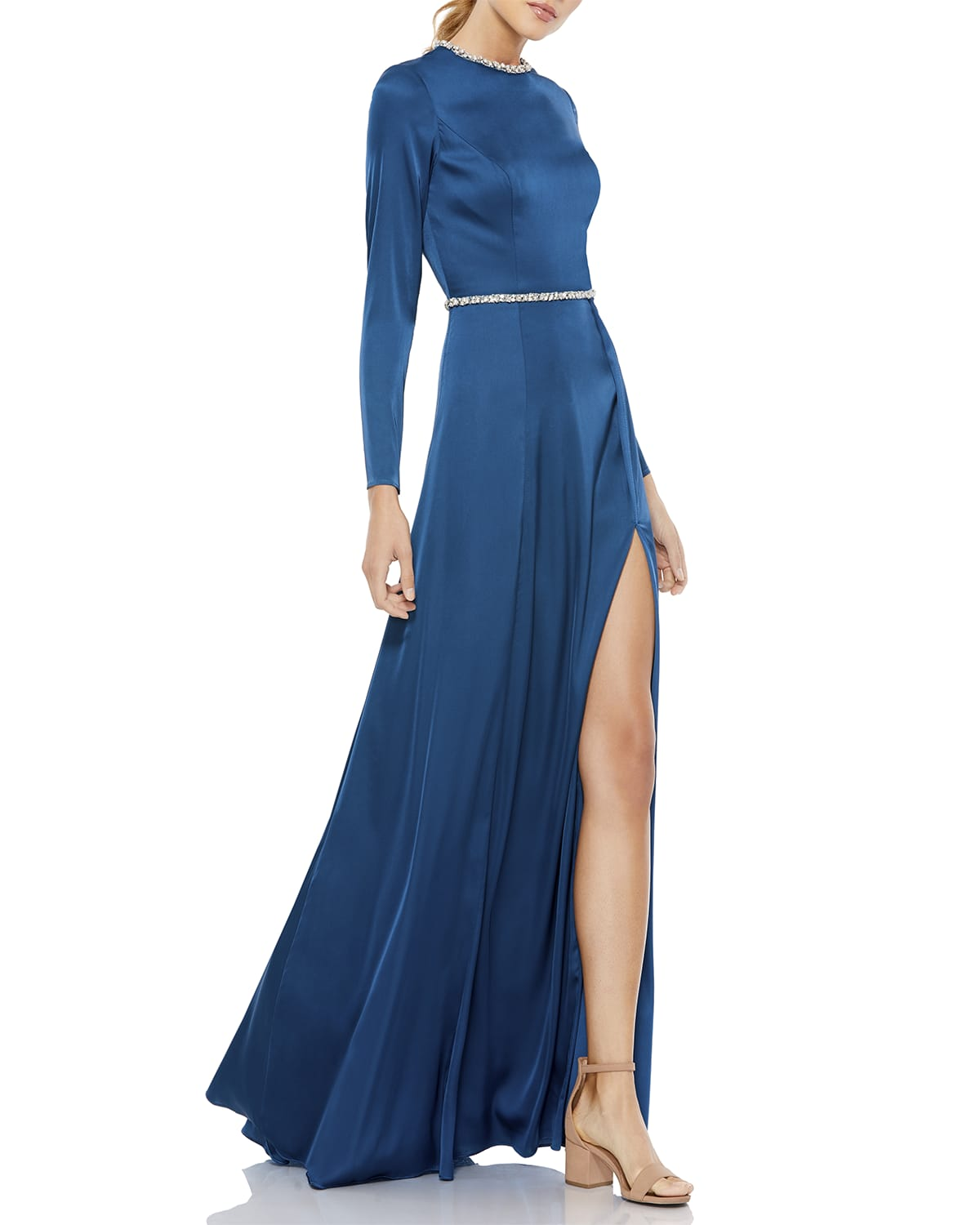 Embellished Satin Long-Sleeve A-Line Gown