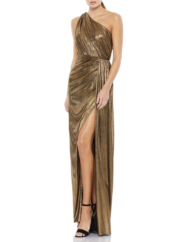 One-Shoulder Metallic Column Gown