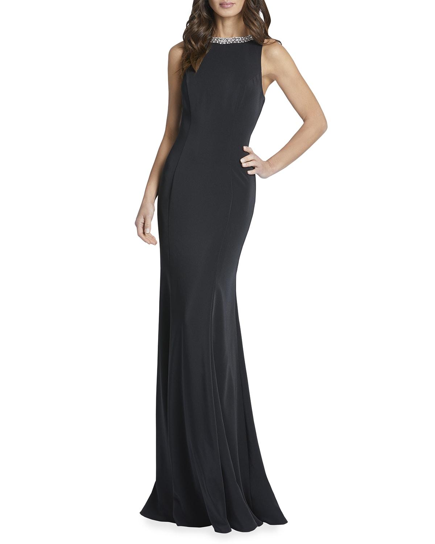 Beaded Jewel-Neck Sleeveless Gown
