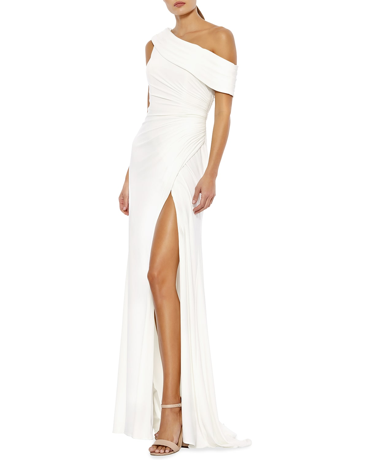 Off-the-Shoulder Shirred Jersey Gown