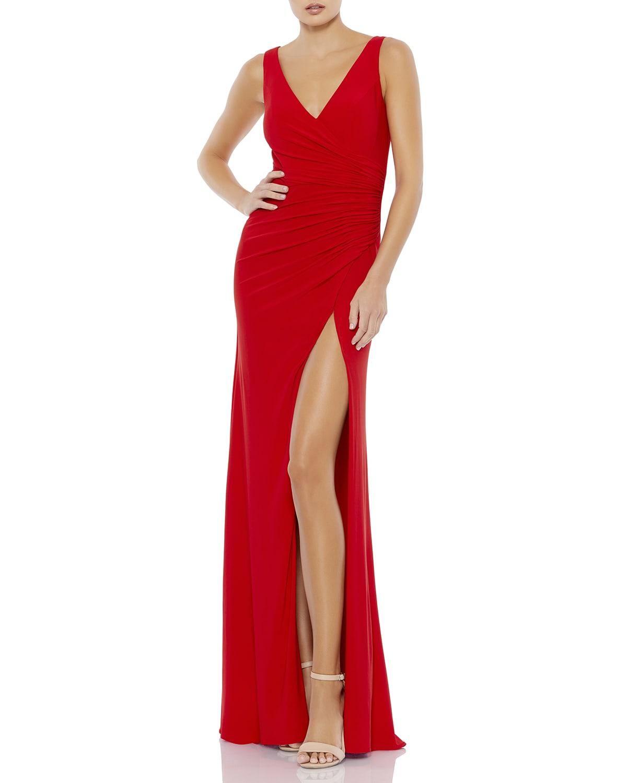 V-Neck Sleeveless Thigh-Slit Column Gown