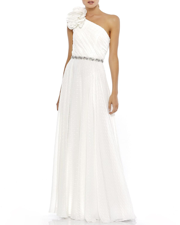 Rosette Applique One-Shoulder A-Line Gown