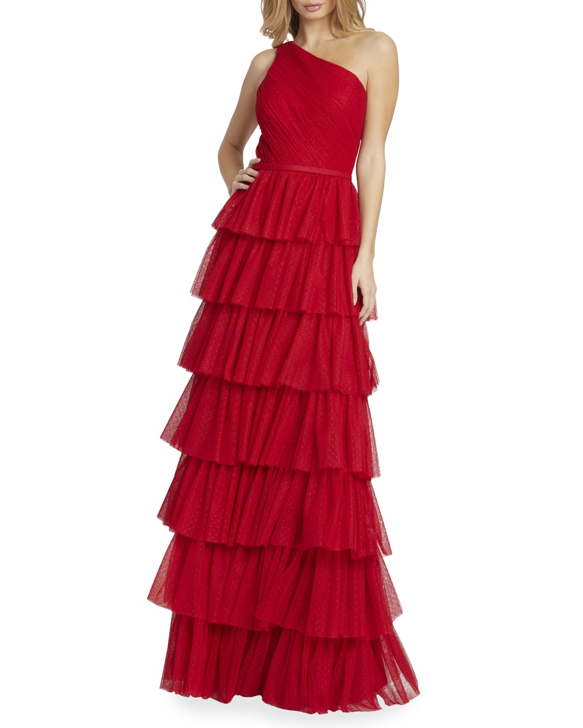 One-Shoulder Ruffle-Tiered A-Line Gown