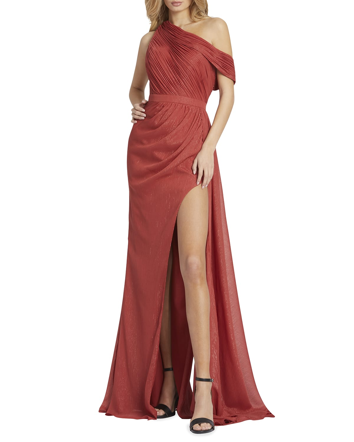 One-Shoulder Draped Gown w/ Thigh-Slit