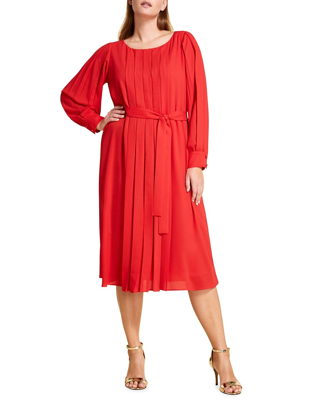 Plus Size Destino Pleated Midi Crepe Dress