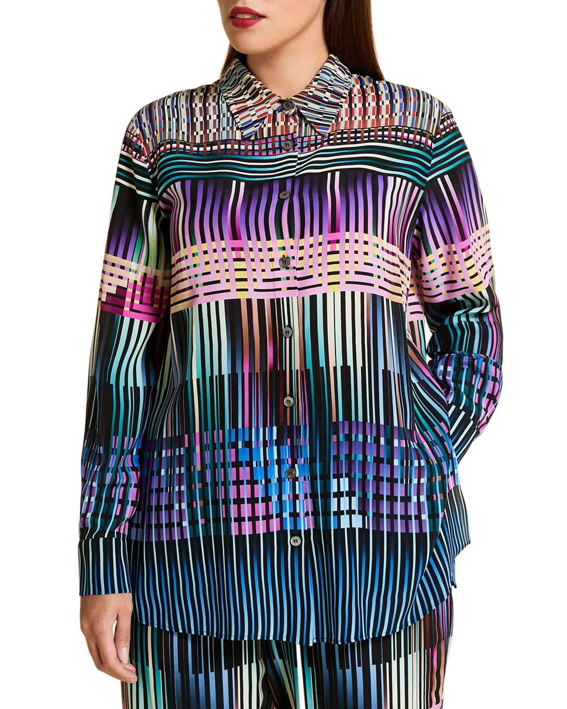 Plus Size Balzac Stain Glass Printed Silk Shirt