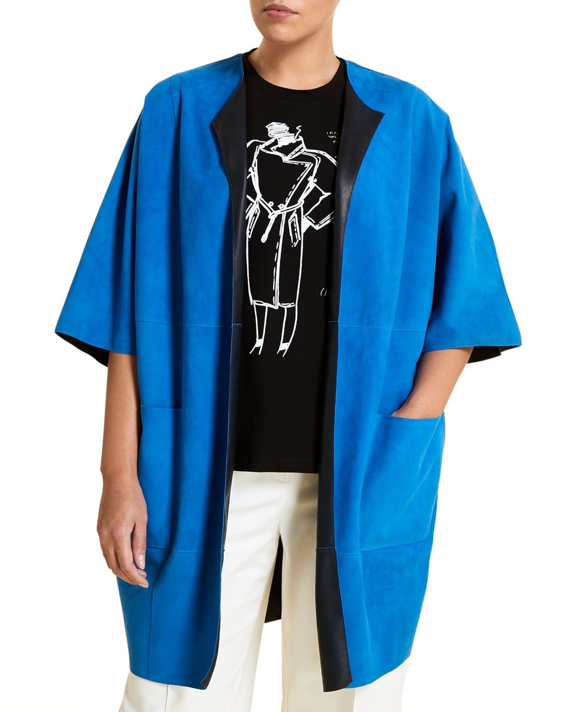 Plus Size Edison Goatskin Suede Jacket