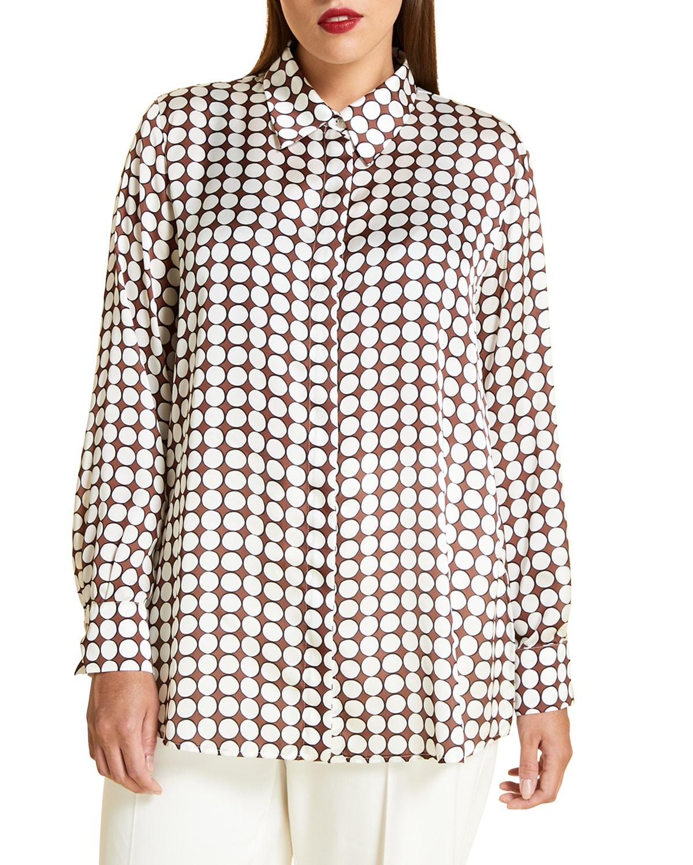 Plus Size Baghera Circle-Printed Satin Shirt