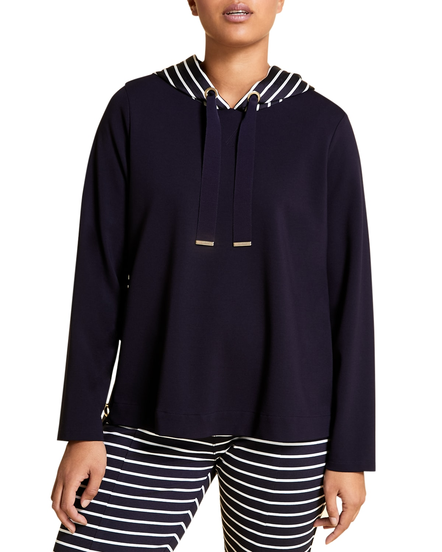 Plus Size Oblativo Jersey Sweatshirt w/ Striped Hood