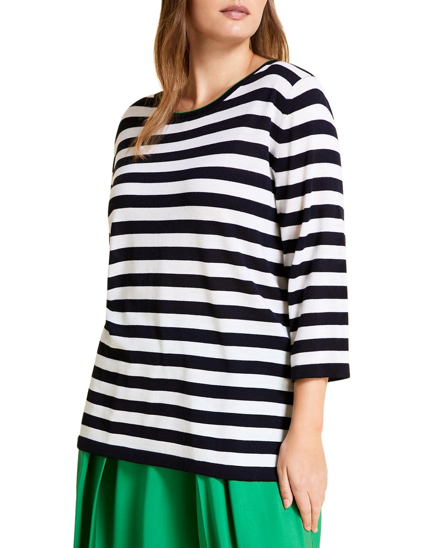 Plus Size Agio Striped Wool Sweater