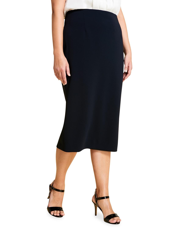 Plus Size Colonna Crepe Pencil Skirt