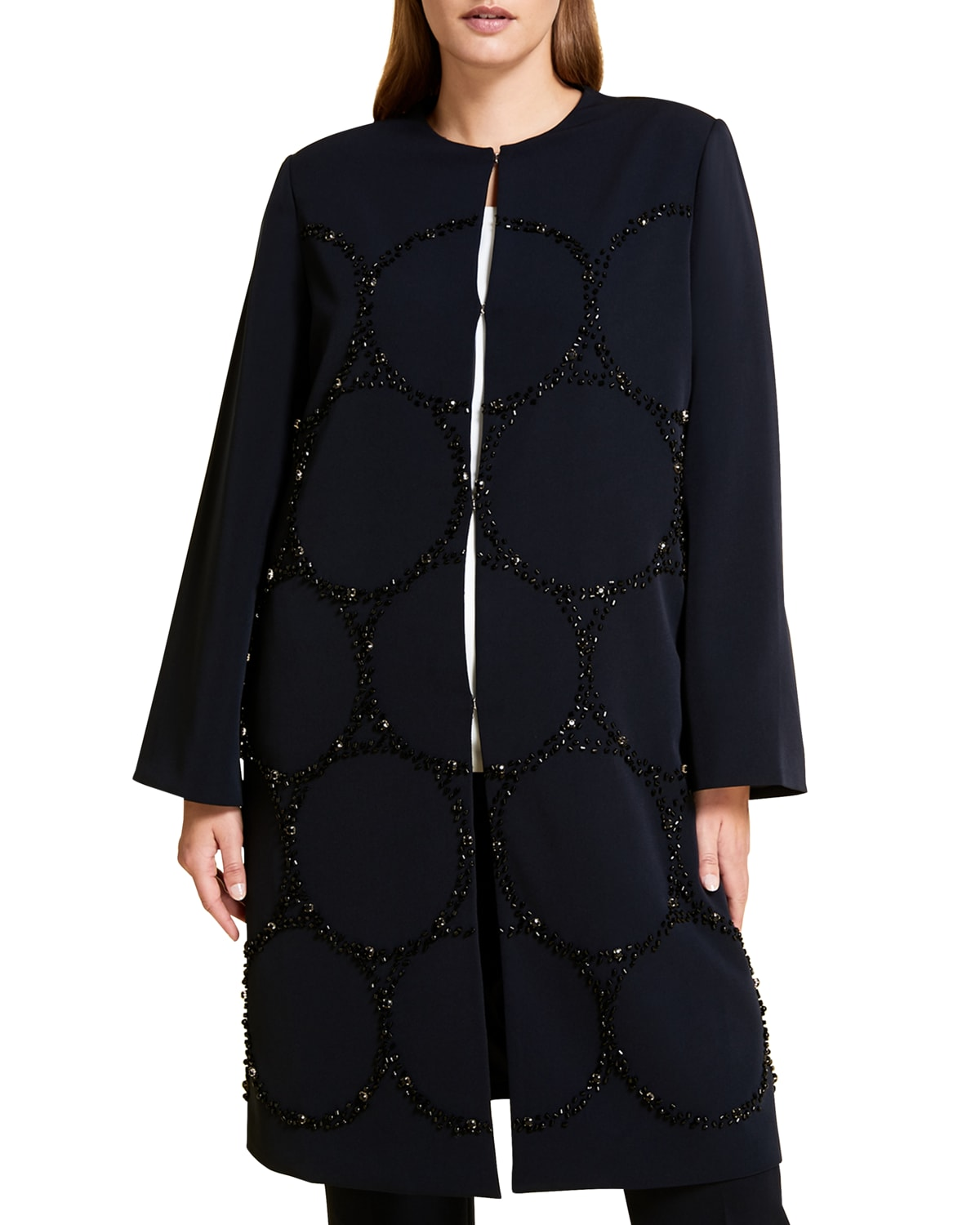 Plus Size Trottola Stretch Cady Overcoat w/ Beaded Dots