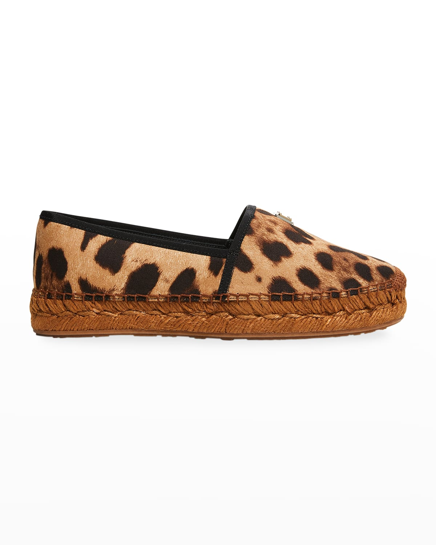 Leopard-Print Flat Espadrille Loafers
