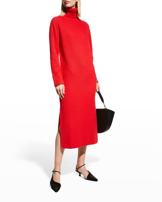 Cashmere Ribbed Turtleneck Dress