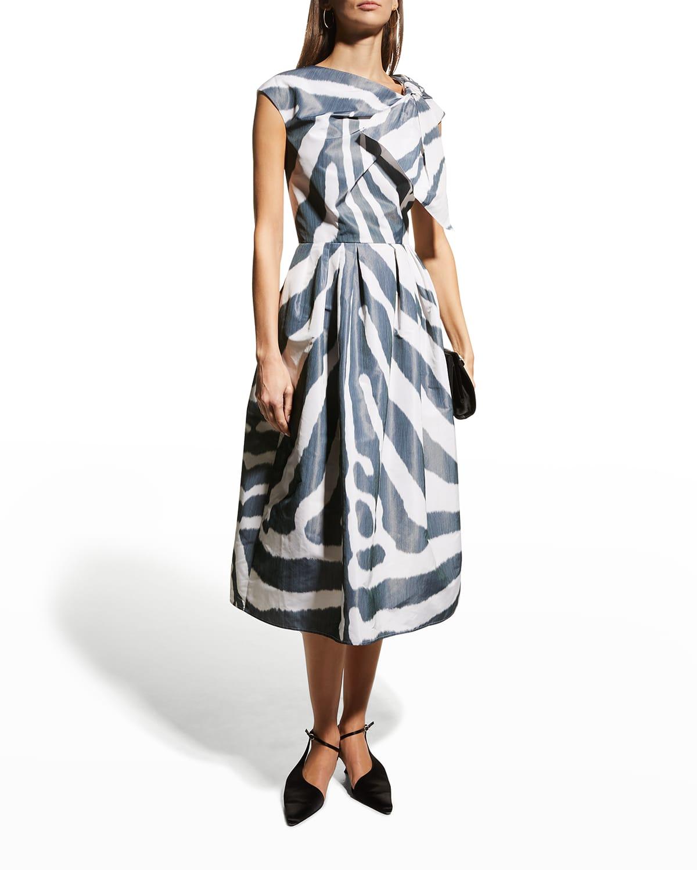 Abstract-Print Bow Midi Dress