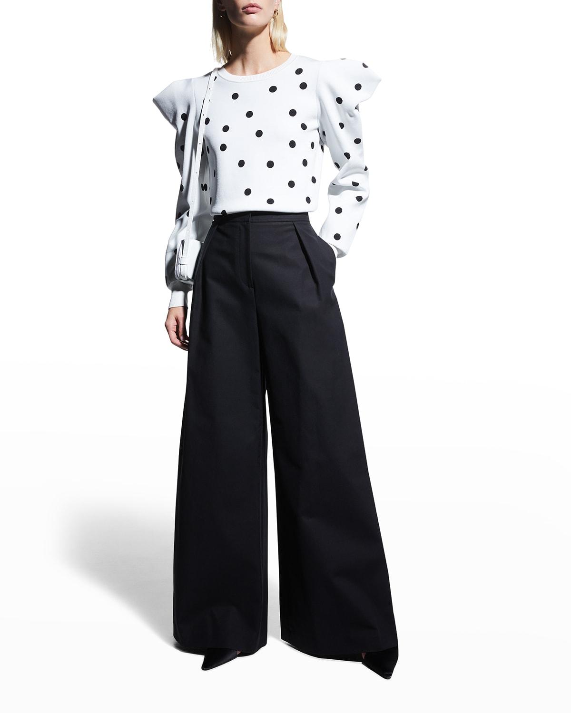Pleated Wide-Leg Cotton Pants