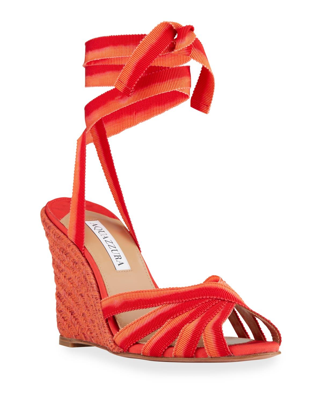 Marinaia Ombre Ankle-Wrap Espadrille Sandals