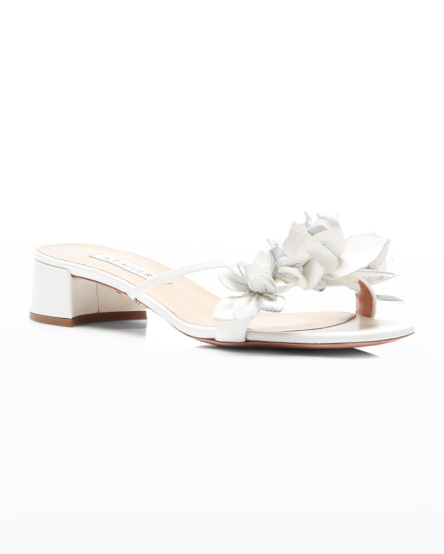 Bougainvillea Metallic Floral Slide Sandals