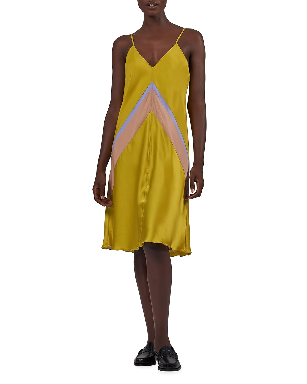 Silk Combo Bias-Cut Slip Dress