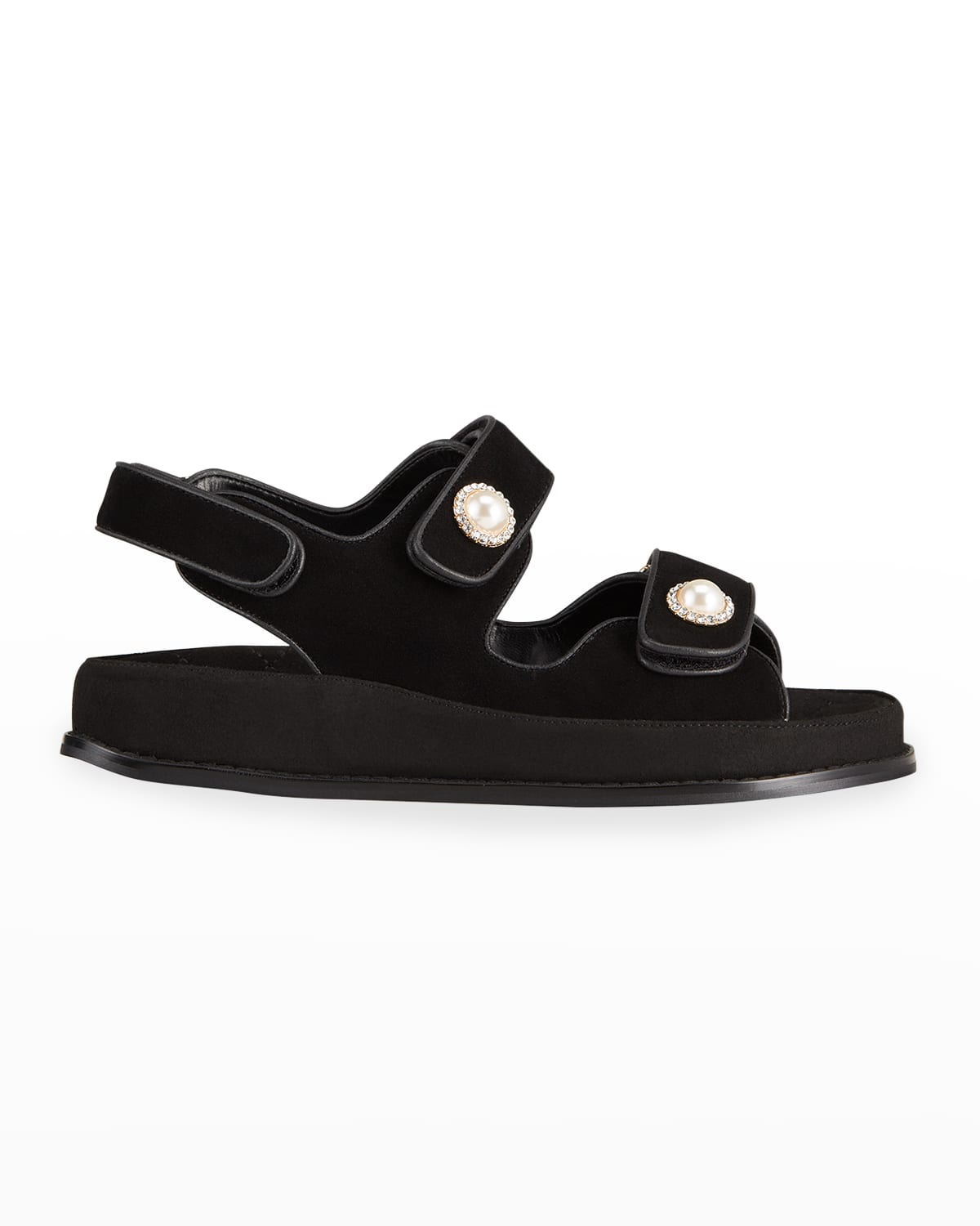 Leather Crystal/Pearly-Button Sporty Slingback Sandals