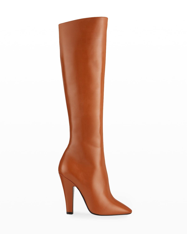 Sleek Calfskin Knee Boots