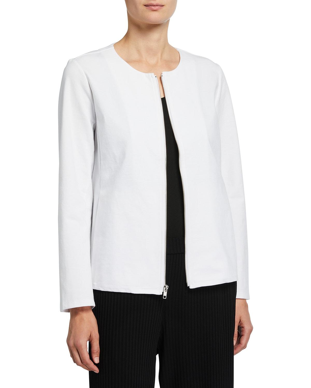 Organic Cotton Ponte Zip-Front Jacket