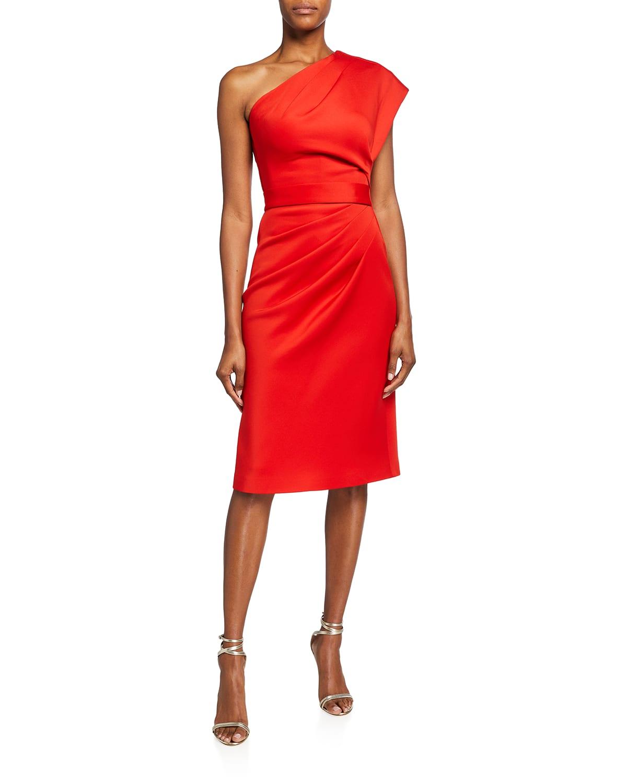 One-Shoulder Belted Sheath Dress
