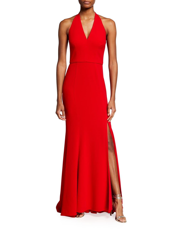 Shiloh Deep-V Halter Gown