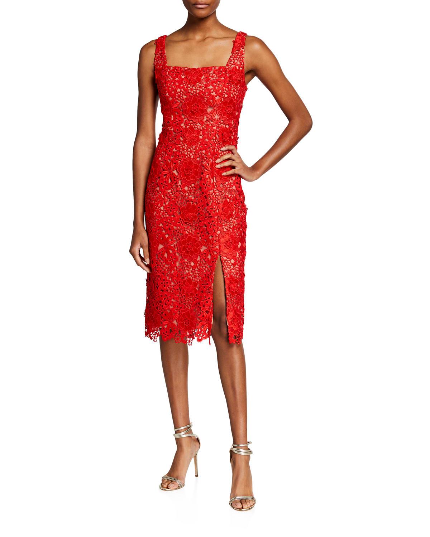 Lucy Square-Neck Lace Sheath Dress