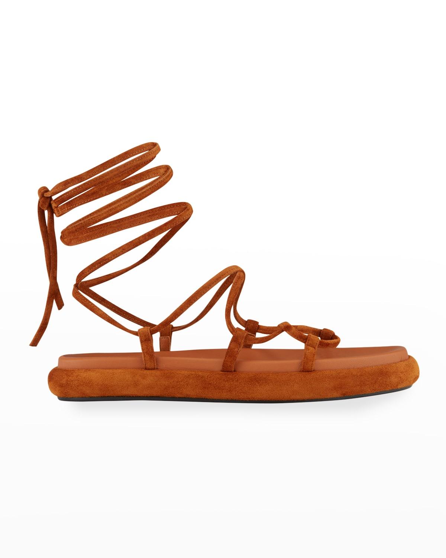 Alba Suede Ankle-Tie Gladiator Sandals