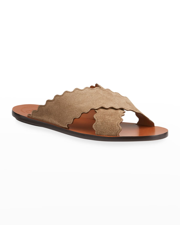 Lauren Suede Crisscross Flat Sandals