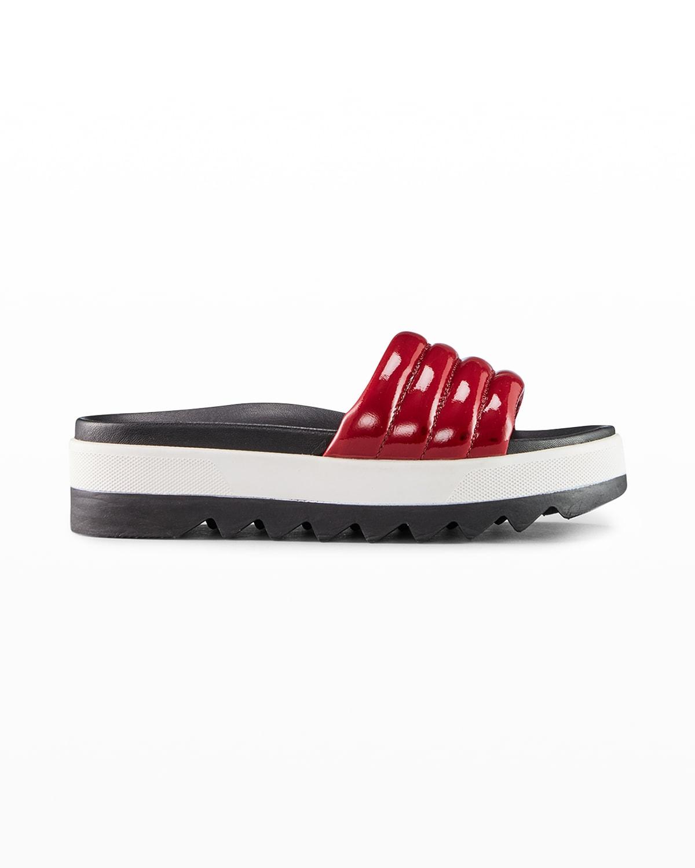 Prato Patent Flat Slide Sandals