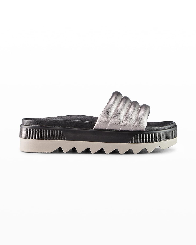 Prato Metallic Flat Slide Sandals