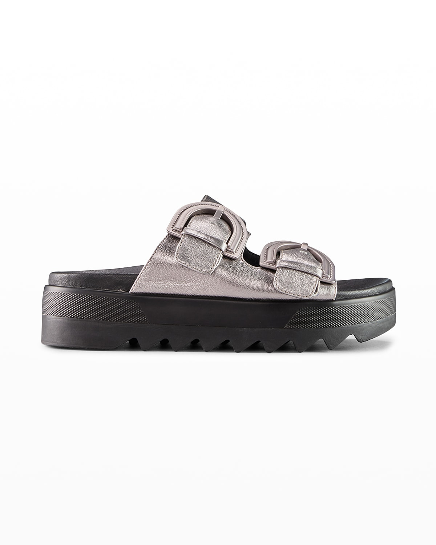 Pepa Metallic Dual-Buckle Slide Sandals