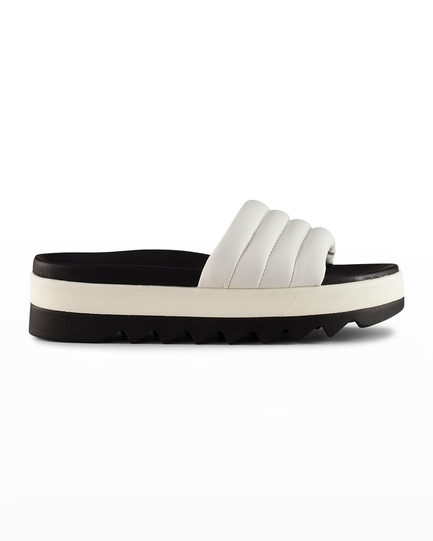 Prato Leather Flat Slide Sandals