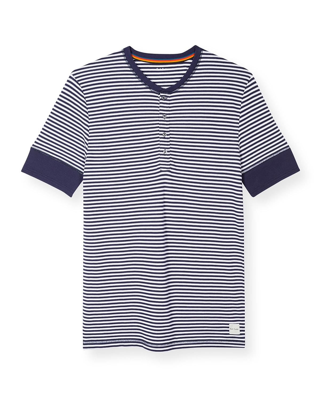 Men's Striped Short-Sleeve Henley Shirt