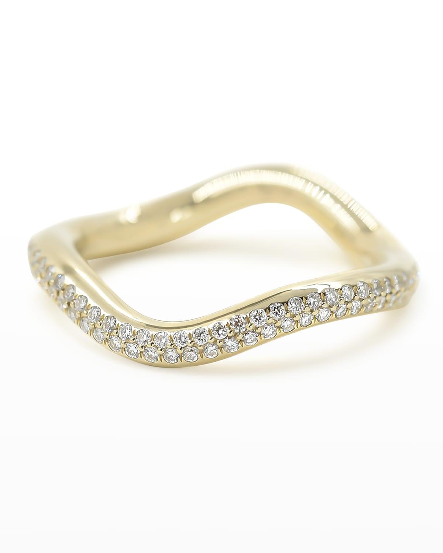 Popie 14k Gold Wave Ring with Diamonds
