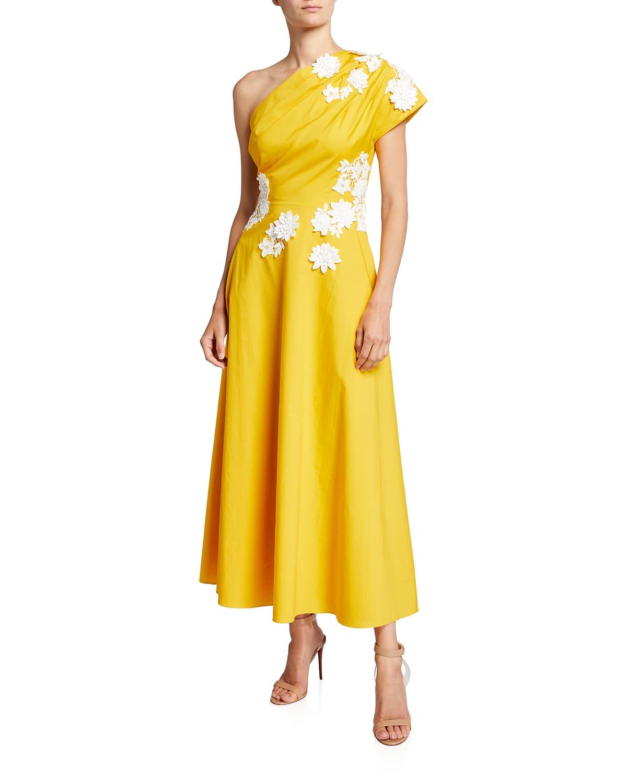 Floral-Applique One-Shoulder Midi Dress