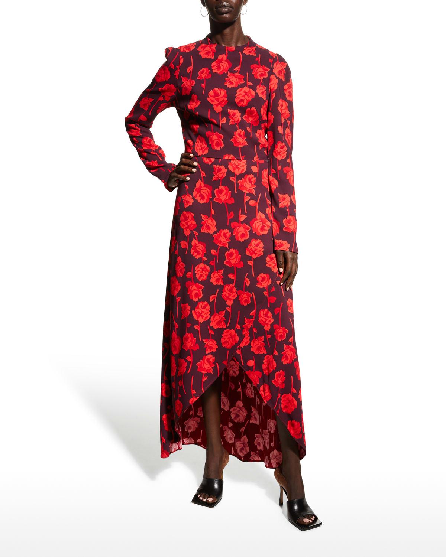 Rosette-Printed Midi Tulip Dress