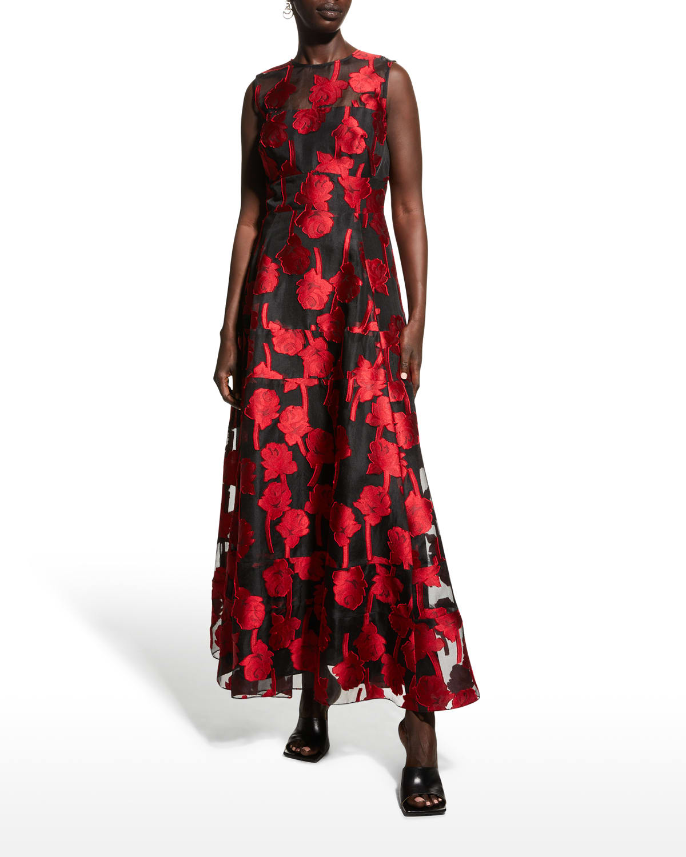 Tiered Rose-Jacquard Illusion Dress
