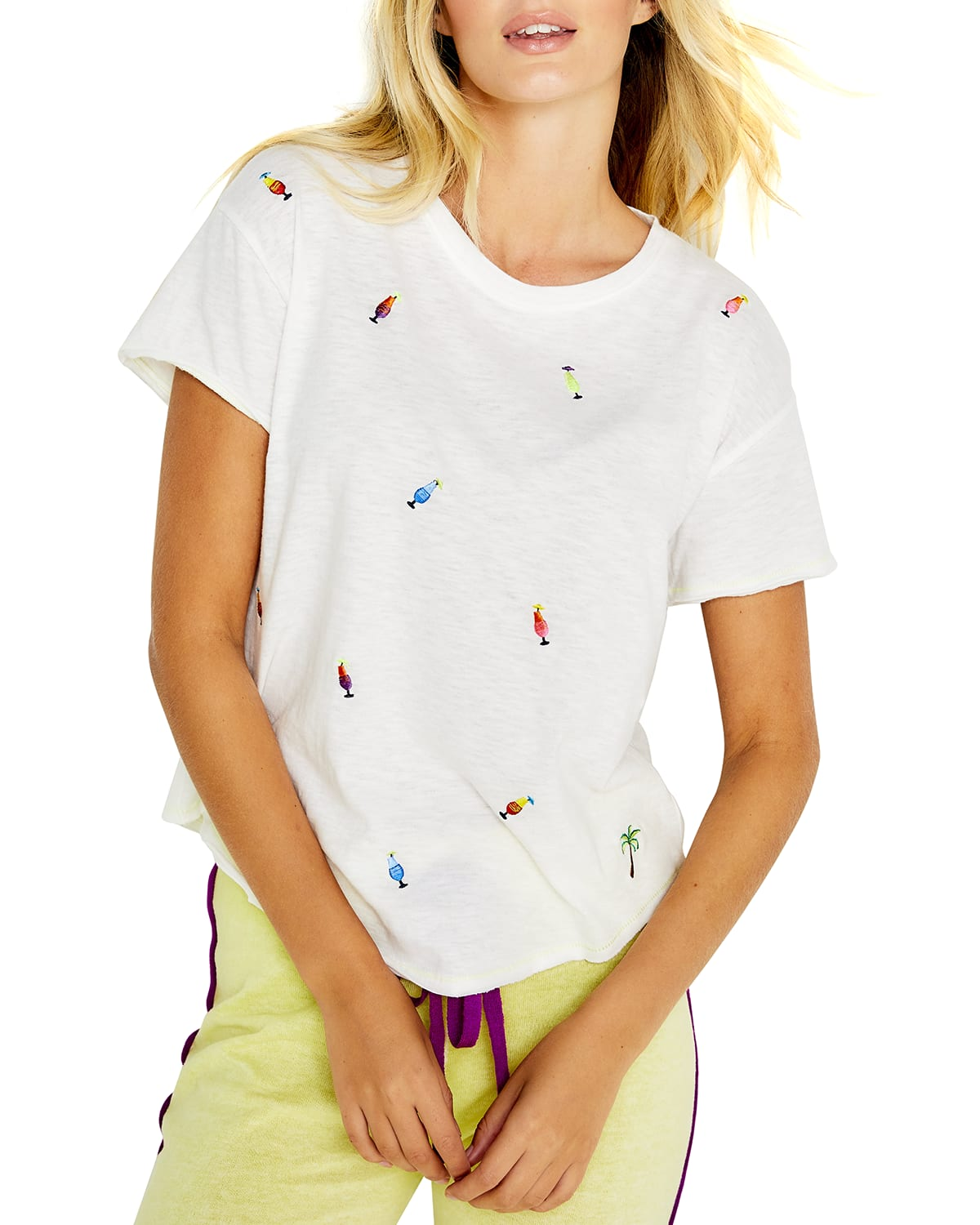 Happy Hour Short-Sleeve Embroidered Tee