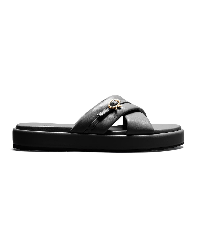 Ribbon Medallion Crisscross Slide Sandals