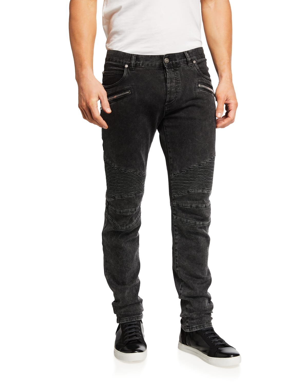 Men's Ribbed Slim-Fit Moto Jeans