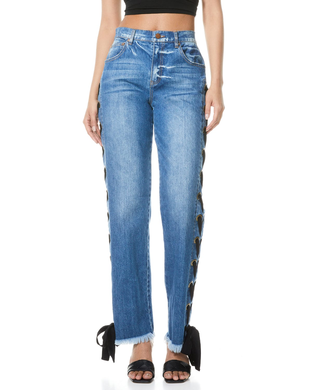 Shayne Lace-Up Ribbon Jeans