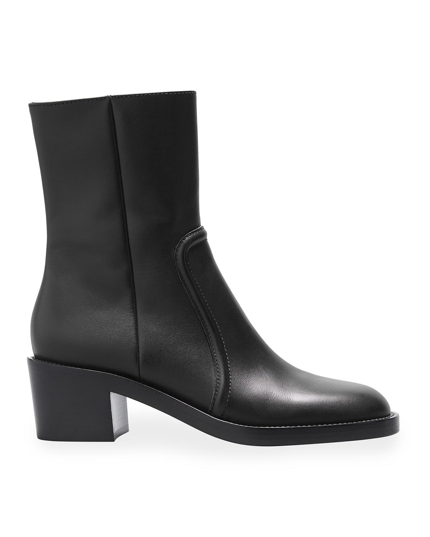 Leather Block-Heel Ankle Booties