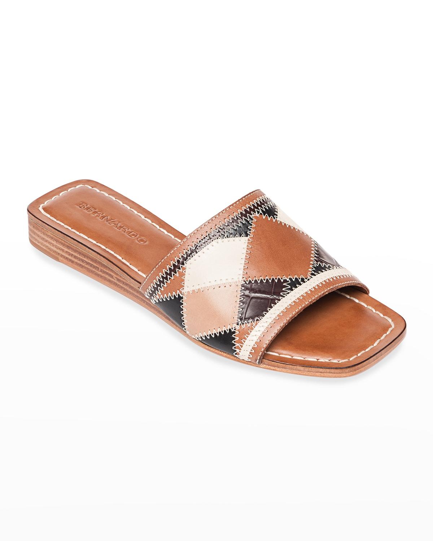 Obrie Patchwork Wedge Side Sandals
